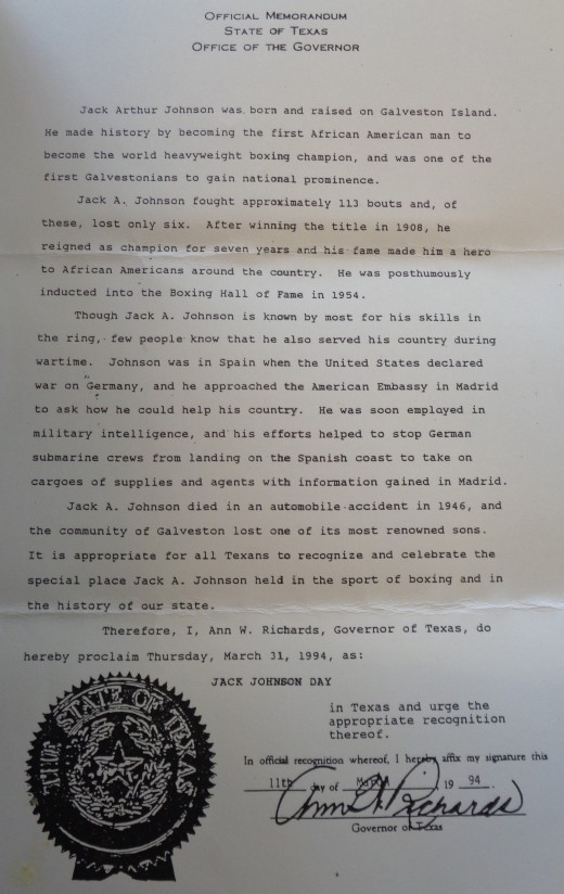 Jack Johnson Official Memorandum State of Texas 2 - B46 F30